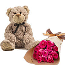 Dark Pink Roses N Teddy: Valentine's Day Gift Delivery in Australia