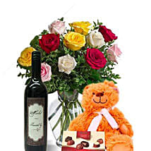 Mixed Roses Combo With Wine: Rose Delivery in Australia