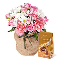 Pink Flowers With Chocolate Box: Best Chocolate Shop in Australia