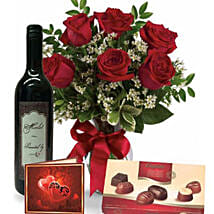Roses Wine N Chocolate Combo: Valentine's Day Gift Delivery in Australia