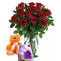Valentine Roses N Teddy Combo: Birthday Gifts to Australia