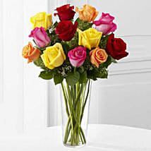 12 Bright Roses Arranged: Anniversary Flowers to Canada