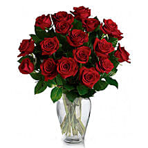 24 Red Roses in Vase: Gifts for Father to Canada