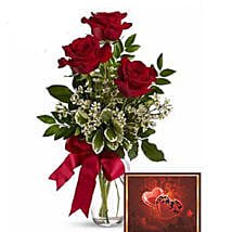 3 Red Roses With Greeting Card: Flower Arrangements to Canada