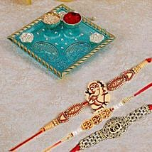 Blue Pooja Thali With Set Of 3 Rakhi: Rakhi to Calgary