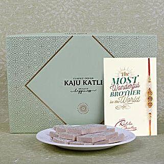 Embellished Rakhi With Kaju Katli: