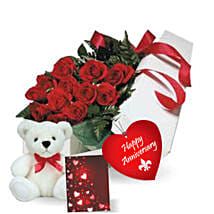 Rose Gift Box N Teddy: Flower Delivery in Canada