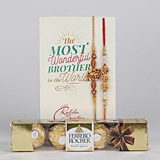 Set of 2 Divine Rakhi With Ferrero Rocher: