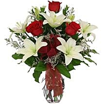 White lilies n roses in Vase: Christmas Gifts to Canada