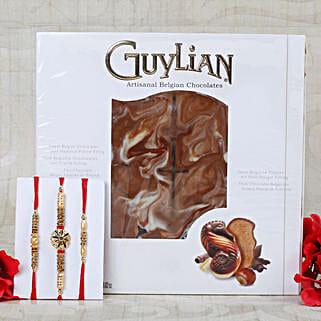 Three Goleden Crafted Rakhi Set with Belgian Chocolates: Send Rakhi to Munich