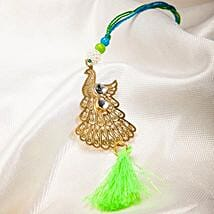 Attractive Metallic Peacock Lumba Rakhi: Rakhi Delivery in Greenland