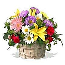Mixed flower basket INDO: Anniversary Flower Delivery in Indonesia