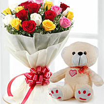 Mix Flowers And Teddy Combo: Anniversary Gift Delivery in Kuwait