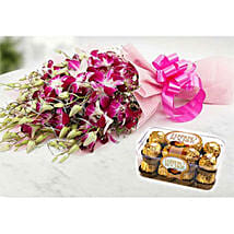 Ornamental Orchids And Choco Combo: Anniversary Gifts to Kuwait