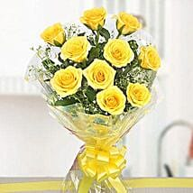 10 Bright Yellow Roses Bouquet: Send Flowers to Amravati