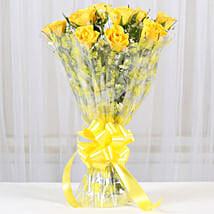 10 Bright Yellow Roses Bouquet: Send Flowers to Rajkot