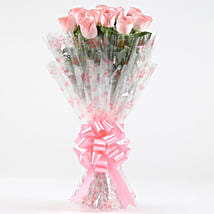10 Charming Pink Roses Bouquet: Anniversary Flowers