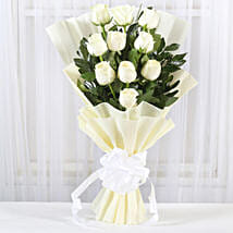 Pristine White Roses Bunch: Roses