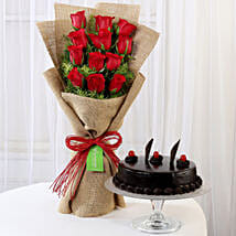 12 Layered Red Roses Bouquet & Truffle Cake: Diwali Gifts to Panipat