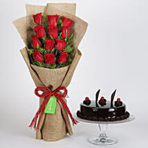12 Layered Red Roses Bouquet & Truffle Cake: Flower Bouquet with Cake