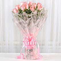 12 Splendid Pink Roses Bouquet: Send Flowers to Alappuzha