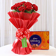 12 Vibrant Red Carnations & Cadbury Celebrations: Valentines Day Flowers & Chocolates