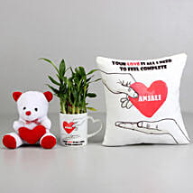 2 Layer Bamboo Plant with Love Cushion & Teddy: Personalised Cushions