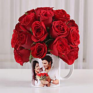 20 Red Roses in White Personalised Mug: Custom Photo Coffee Mugs
