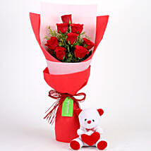 8 Red Roses Bouquet & Teddy Bear Combo: Teddy Day Gifts