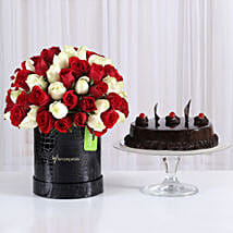 80 Red & White Roses Box with Truffle Cake: Gifts for Anniversary