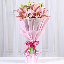 Admirable Pink Asiatic Lilies Bunch: Lilies