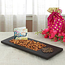 Almonds In Wooden Tray: Send Bhai Dooj Gifts to Ahmedabad