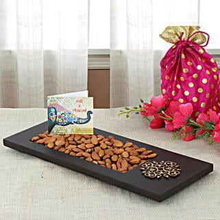 Almonds In Wooden Tray: Send Bhai Dooj Gifts to Ranchi