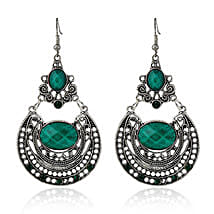 Antique Silver Plated Green Earrings: Jewellery Gifts