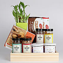 Bamboo Plant with Healthy Snacks Hamper: Send Diwali Gifts for Her