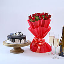 Beautiful Red Rose Hamper: Flowers & Cakes for Birthday