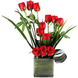 Beautiful Red Roses Vase Arrangement: Anniversary Roses for Him