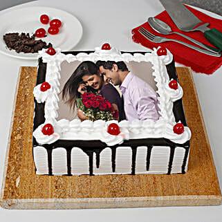 Black Forest Photo Cake- Square: Photo Cakes to Noida