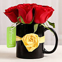 Black Mug of Red Roses: Flowers for Mother's Day