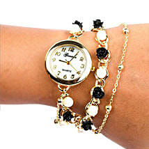 Black N White Pearl Watch For Women: Gifts for Wife
