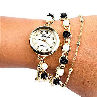 Black N White Pearl Watch For Women: Women's Accessories