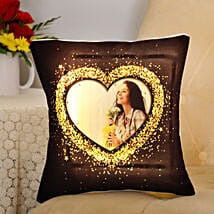 Blingy Heart Personalised LED Cushion: Personalised Cushions for Valentine
