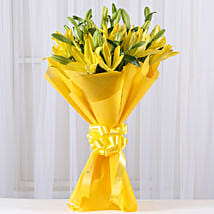 Bright Yellow Asiatic Lilies: Valentine Flowers Faizabad