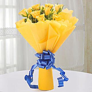 Bright Yellow Roses Bouquet: Wedding Gifts Bikaner