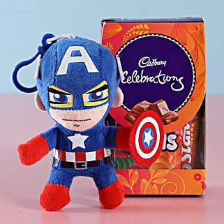 Captain America Rakhi & Cadbury Chocolates: Rakhi With Cadbury Chocolates