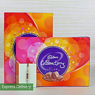 Celebrations Rakhi Treat: Rakhi Flowers with Chocolates
