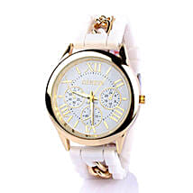 Chained White Silicone Watch For Women: Buy Watches