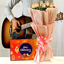 Chocolatey Tunes & Pink Roses Combo: Flowers & Chocolates for Birthday