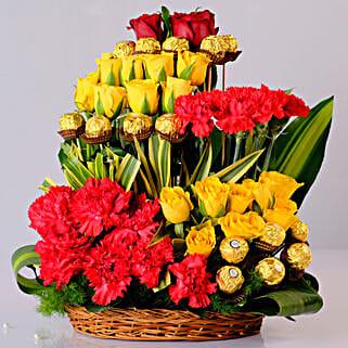 Mixed Flowers & Ferrero Rocher Arrangement: Diwali Gifts for Kids