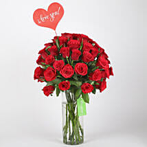 Classic Red Roses in Glass Vase: Send Valentine Gifts for Her